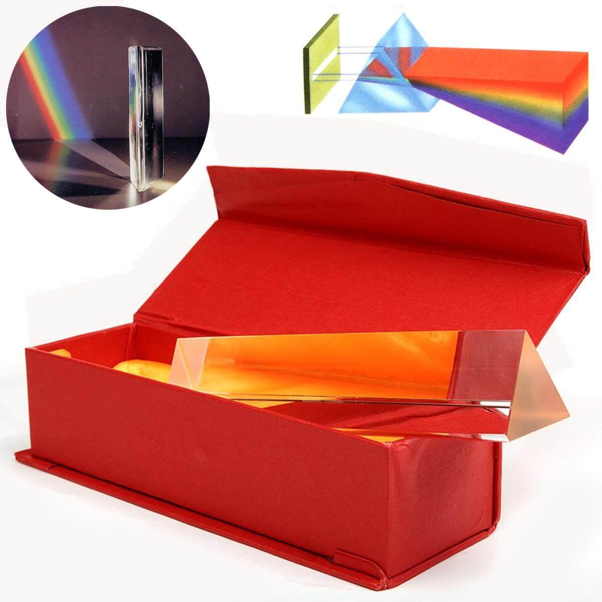 6 ''Kaca Optik Triple Prisma Segitiga Di Kotak Pengajaran Fisika Spektrum Cahaya