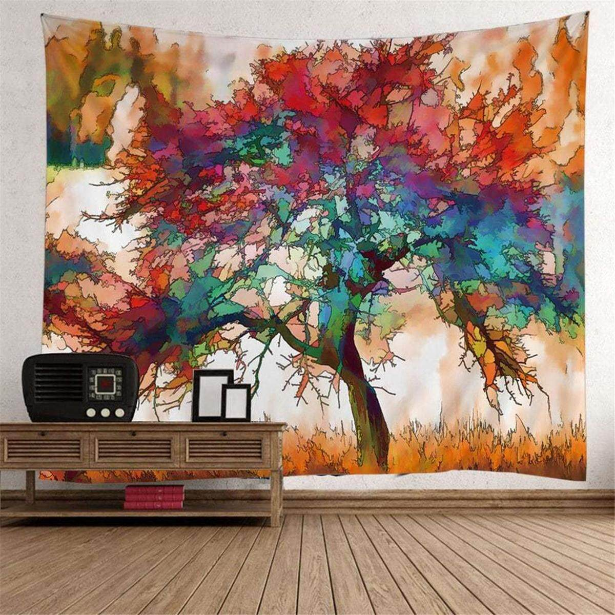 150cm x 130cm Watercolor Art Tree Print Tapestry Wall Hanging Decorative Tapestry Home Decor