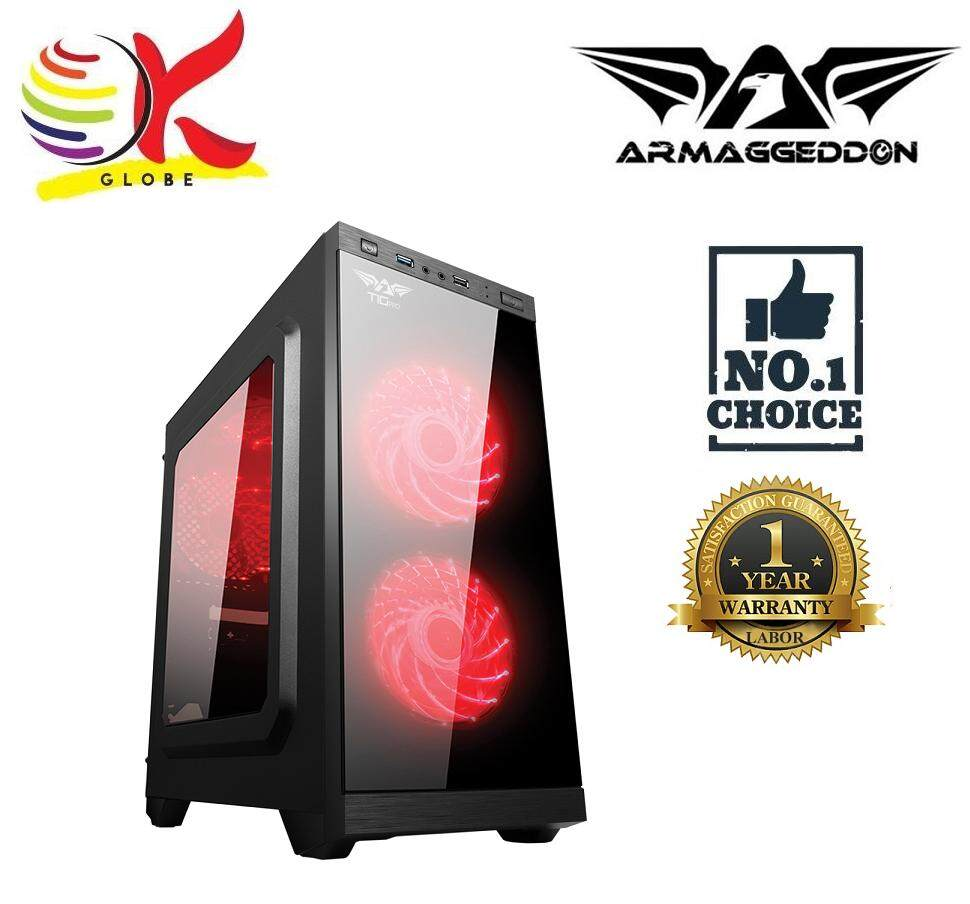 ARMAGGEDDON T1G PRO MICRO ATX GAMING CHASIS PC CASING FULL VIEW TRANSPARENT FRONT SIDE PANEL DESIGN Malaysia