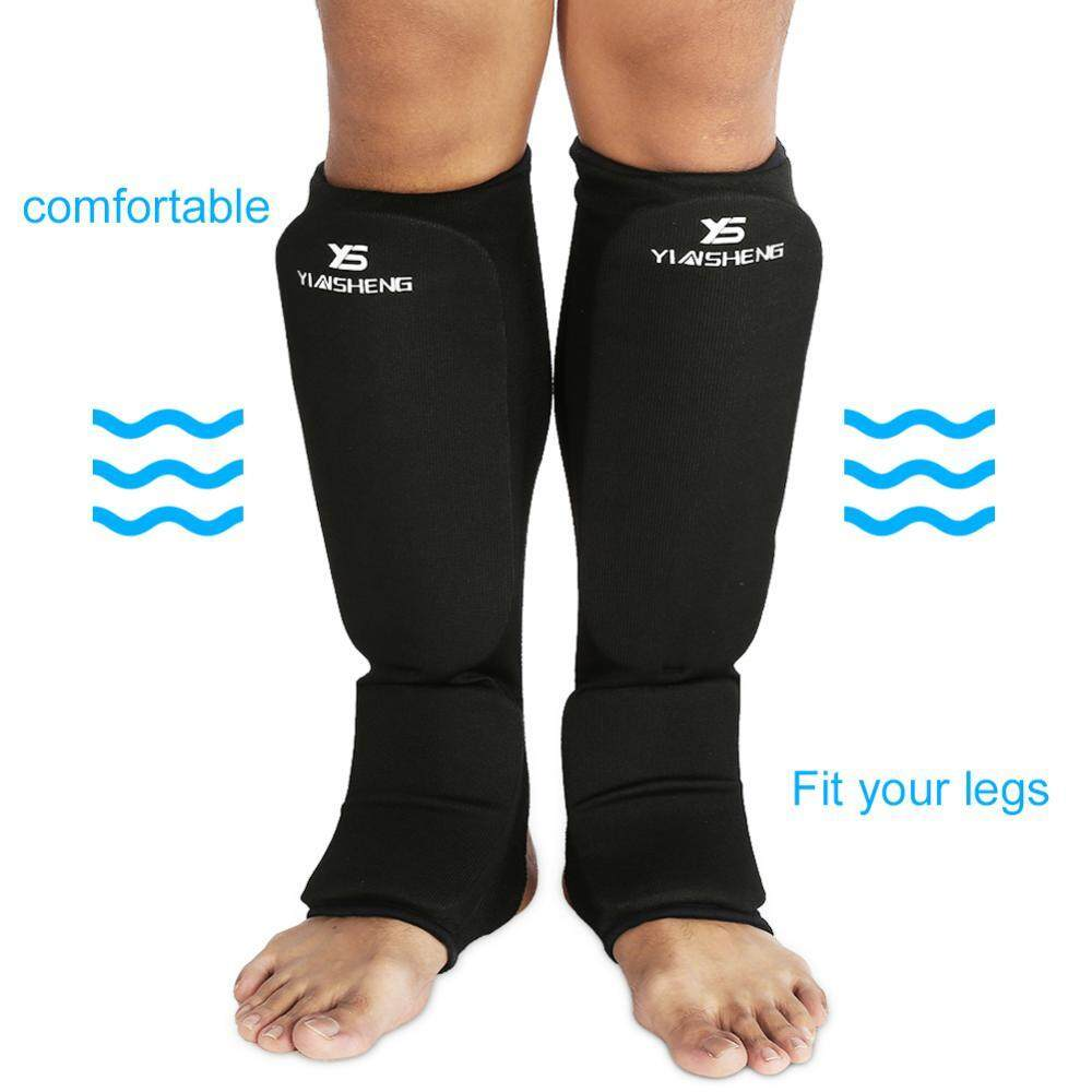 Hình ảnh Breathable Leg Ankle Protector Anti-slip Protection Pads For Boxing Kickboxing (Black L) - intl
