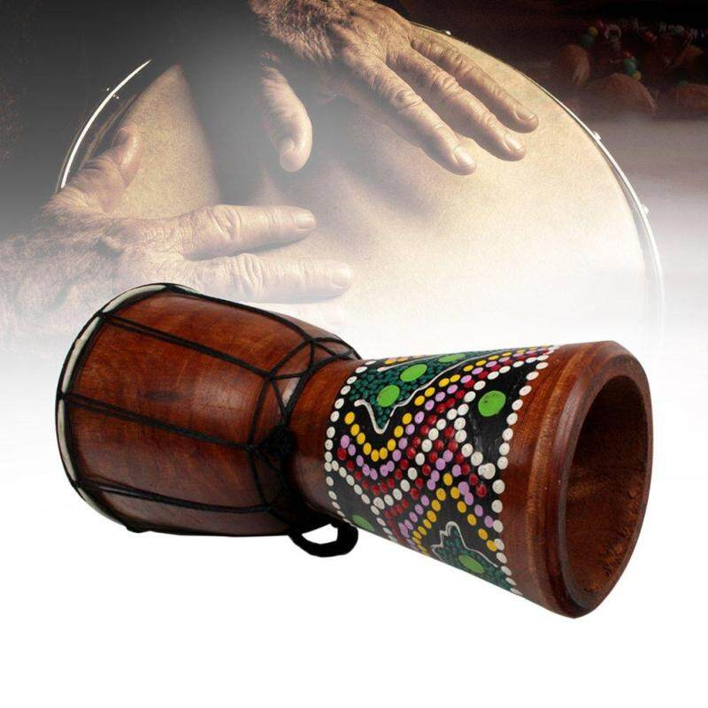 ELEC 4 Inch African Djembe Percussion Mahogany Hand Drum with  Goat Skin Surface
