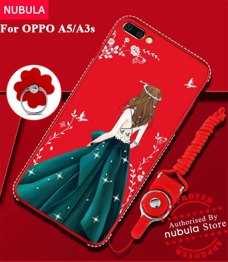 Nubula untuk OPPO A5 OPPO A3s Case Berlian Cantik TPU Lembut Tahan Kejut Case dengan Ponsel Tali dan Logam Cincin untuk OPPO A5/ OPPO A3s-Intl