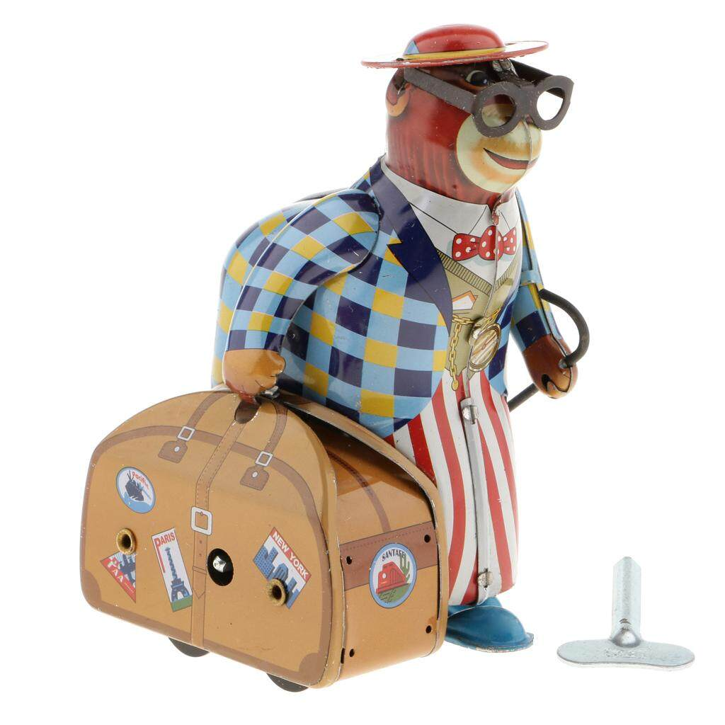 MagiDeal Vintage Wind Up Old Monkey On Business With Suitcase Model Tinplate Clockwork Toy Collectibles Xmas
