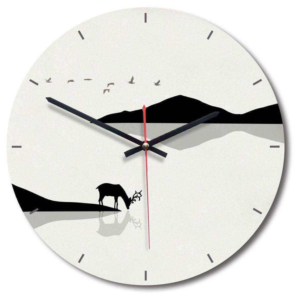 Modern minimalist acrylic wall clock Creative round decorative clock Black and white elk A Free Shipping