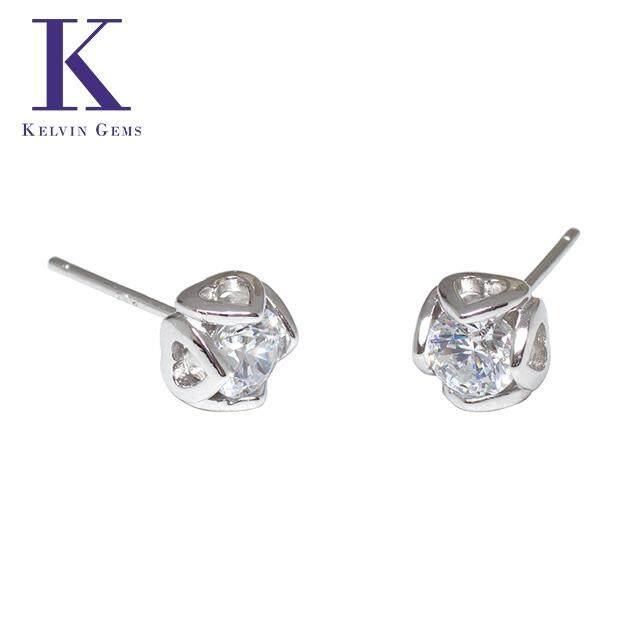 Kelvin Gems Premium Four Heart Stud Earrings m/w SWAROVSKI Zirconia
