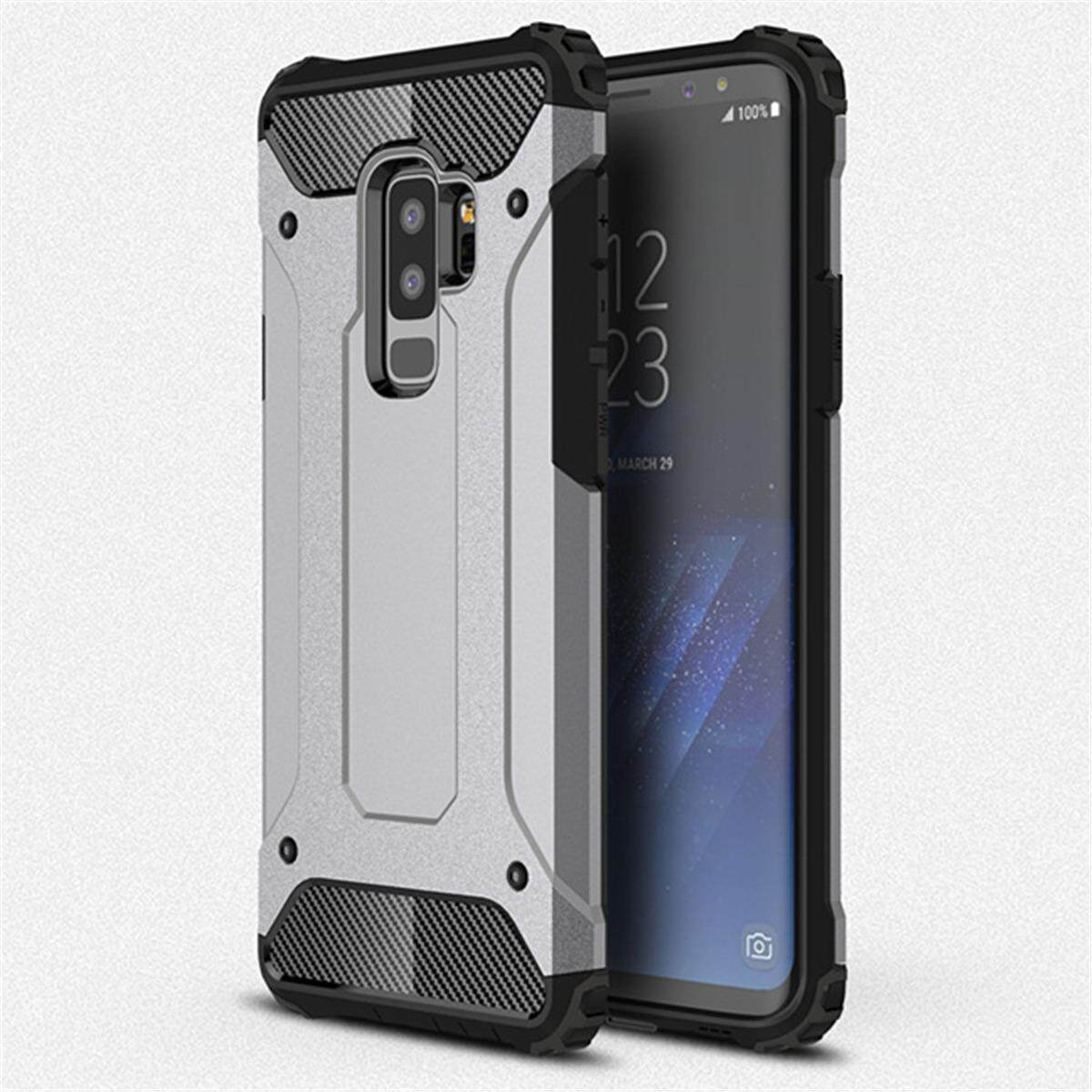 for Samsung Galaxy S9 Plus & S9+ Case [Steel Armor] Carbon Fibre Premium Soft TPU + Hard PC Back Cover Cell Phone Hybrid Protection Armor Case with Dust Cap