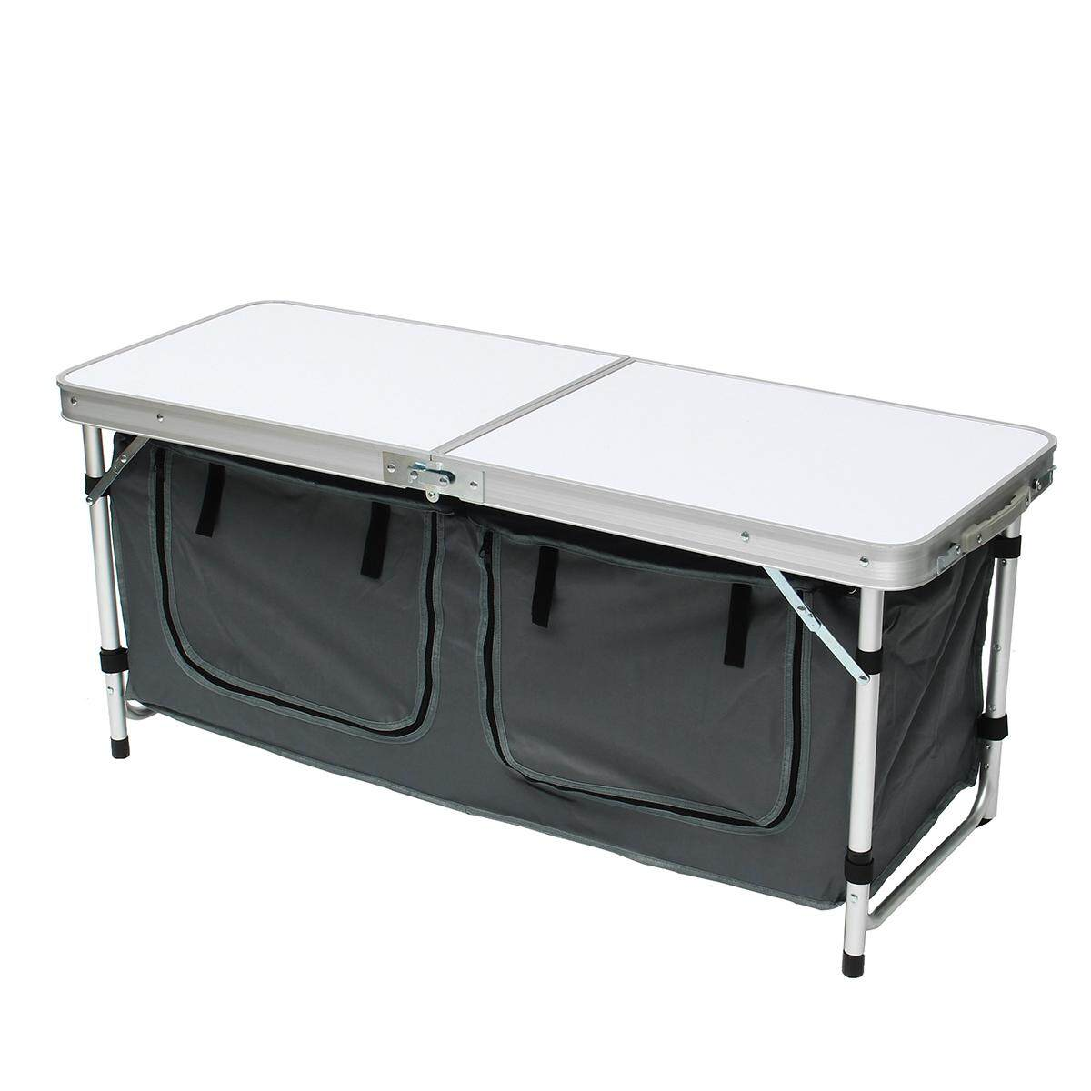 48 Outdoor Portable Aluminum Camping Picnic Folding Table w/ Storage Organizer - intl