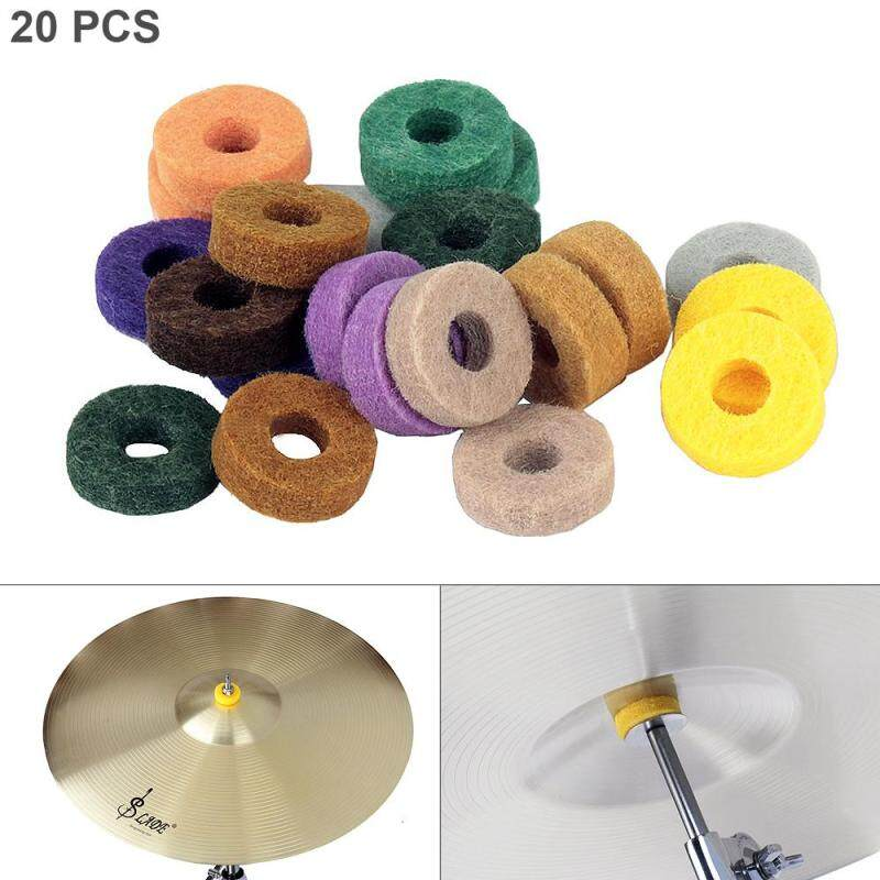 20pcs Colorful Cymbal Felt Pads Percussion Accessories Kit Protection Pad for Drum Slices Felt