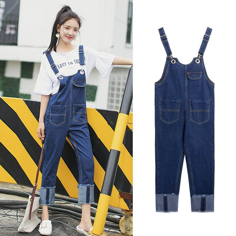 Preppy Style Casual All-match Denim Overalls Youthful Raw Hem Jumpsuit Jeans Cropped Pants