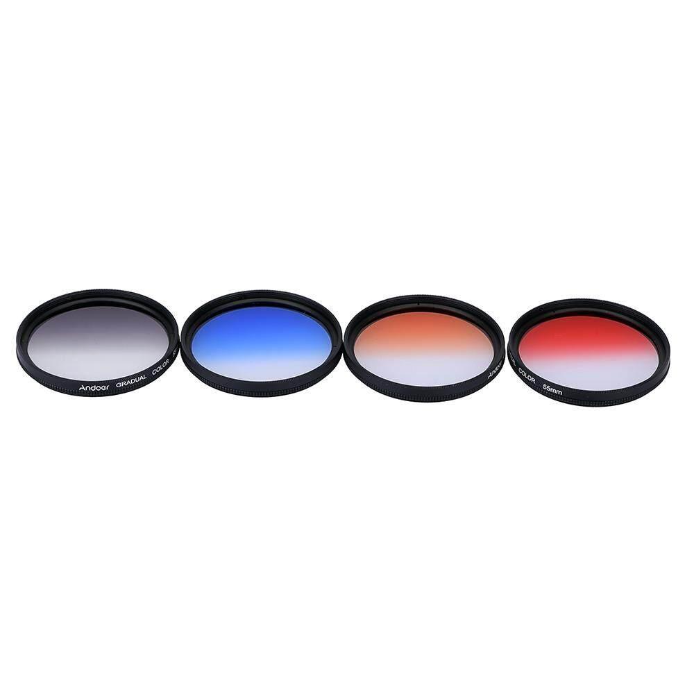 Andoer Profesional 55 Mm GND Lulusan Penyaring Set GND4 (0.6) gray Biru Oranye Merah Lulus Penyaring Densitas Netral untuk Canon Nikon DSLR 55 Mm Kamera Lensa-Internasional