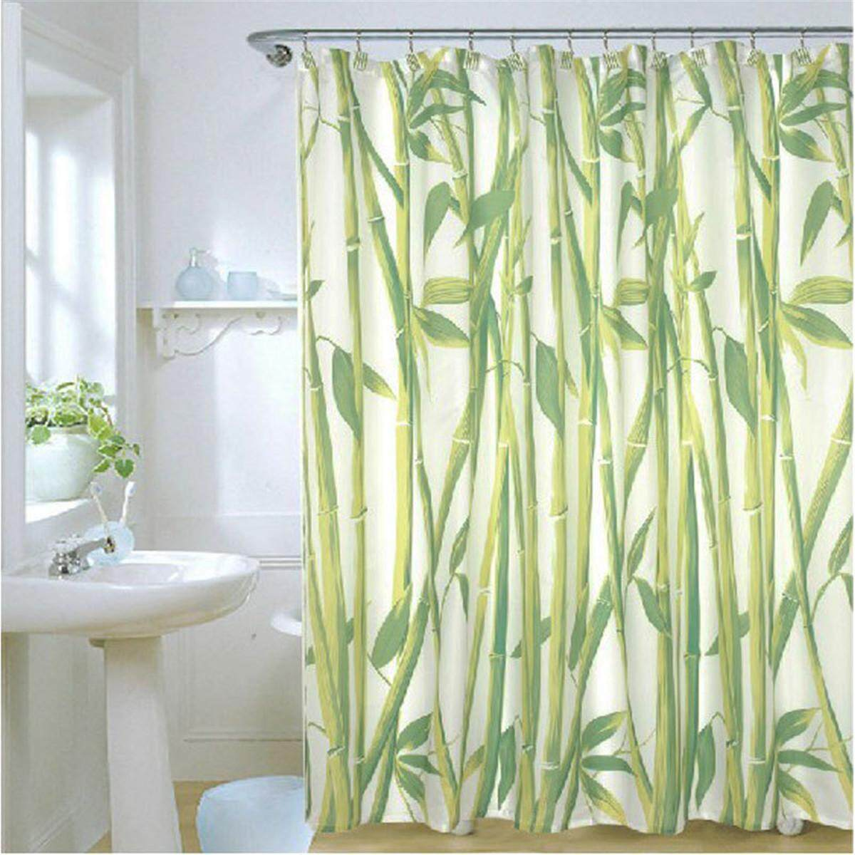Waterproof Bathroom Fabric Shower Curtain Bamboo Tree Natural Landscape 12 Hooks By Glimmer.