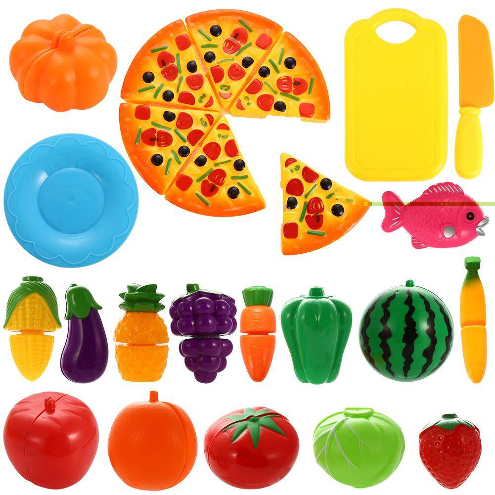 Outops 24pcs Plastic Cutting Fruits And Vegetables Set With Pizza Play Food Set For Pretend Play By Outop Store.