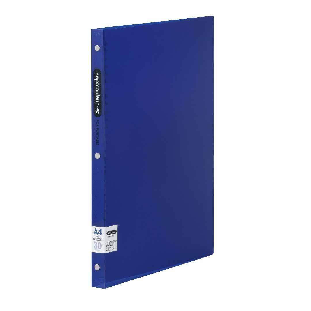 SEPT COULEUR A4, 30 Holes, 60 Sheets, 18 Spine Width - Dark Blue