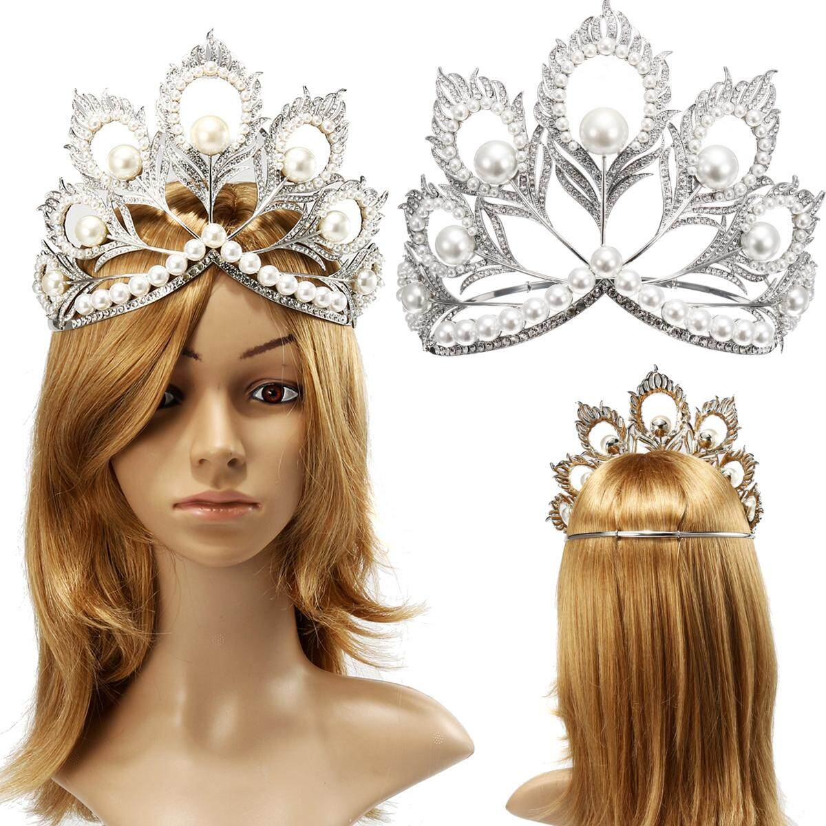 Miss Universe Crown Adjustable Pearl Wedding Bridal Tiaras Beauty Pageant Tiara By Moonbeam.
