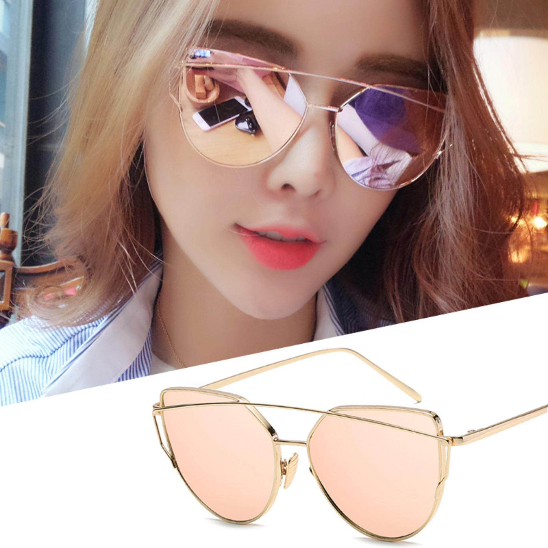 324cc76ddc Fashion Cat Eye Sun Glasses Men and Women Retro Style Sunglasses- Gold  Frame Rose Gold Powder
