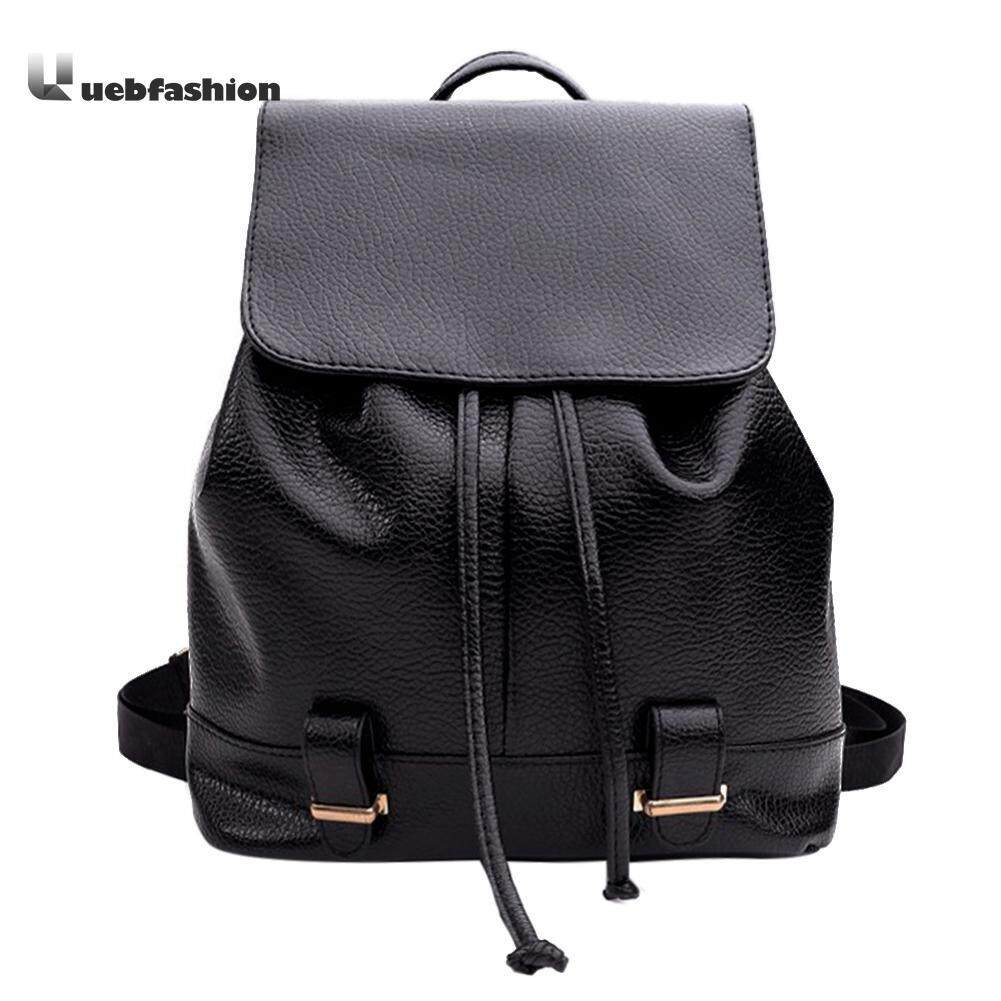 Women Classic Black PU Leather Backpack Casual Drawstring Travel School Bag - intl Philippines