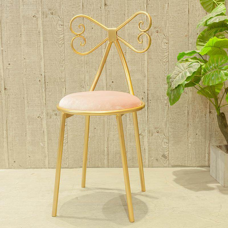 RuYiYu - Vanity Stool, Golden Bronze Color, Dressing table chair, Bow Wrought Iron Chair, Dining Chair Bar Chair Backrest Chair Home Girl Room Decoration Chair Dresser Makeup Chair - intl