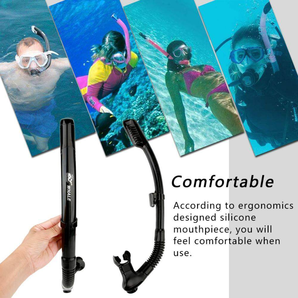 Hình ảnh WHALE Underwater Water Sports Swimming Diving Snorkeling Silicone Breathing Tube (Black) - intl