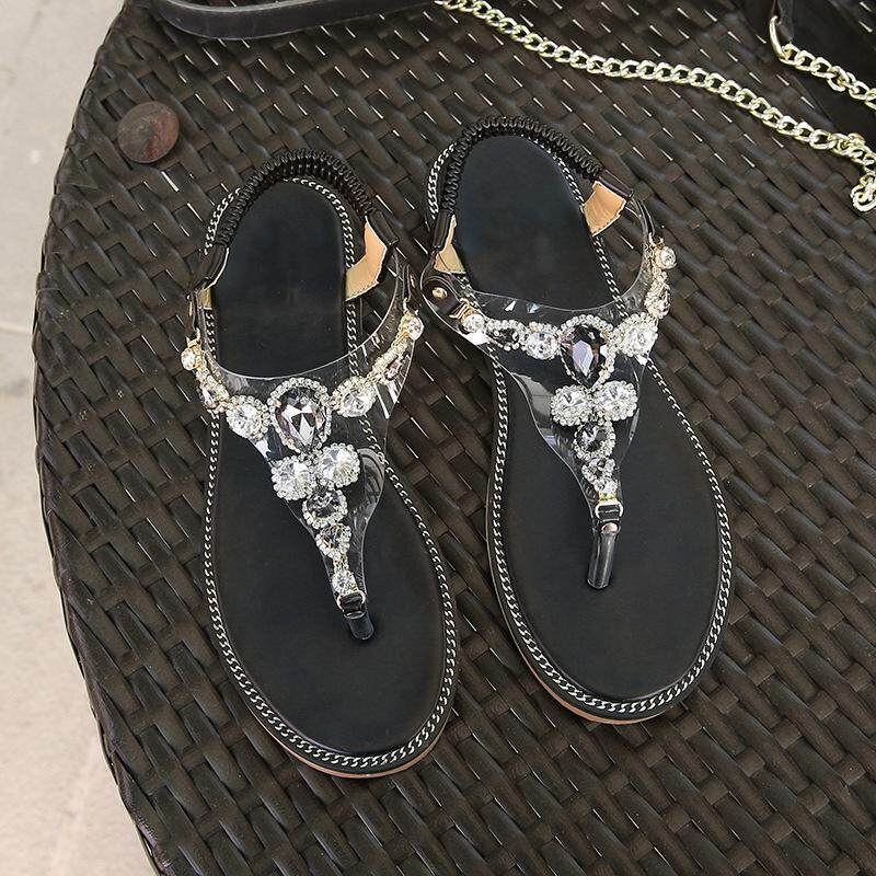 78a7ea218770 2 Color Summer Explosion Models Flat Sandals Wild Korean Version Of The  Folder Toe Rhinestones Large