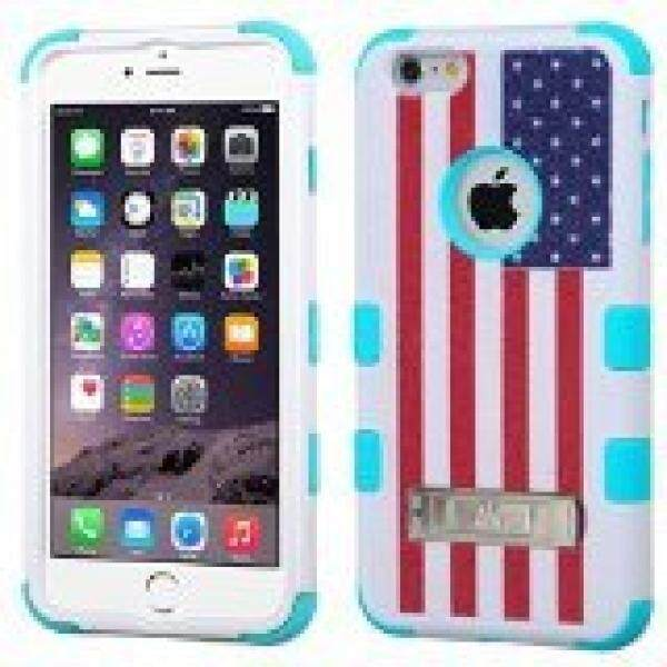 MyBat iPhone 6 Plus TUFF Hybrid Phone Protector Cover with Stand - Retail Packaging - United States National Flag/Tropical Teal