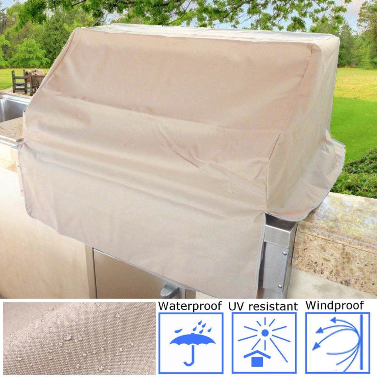 Outdoor BBQ Island Built-in Gas Grill Head/Top Cover - Fits up to 30 Taupe - intl