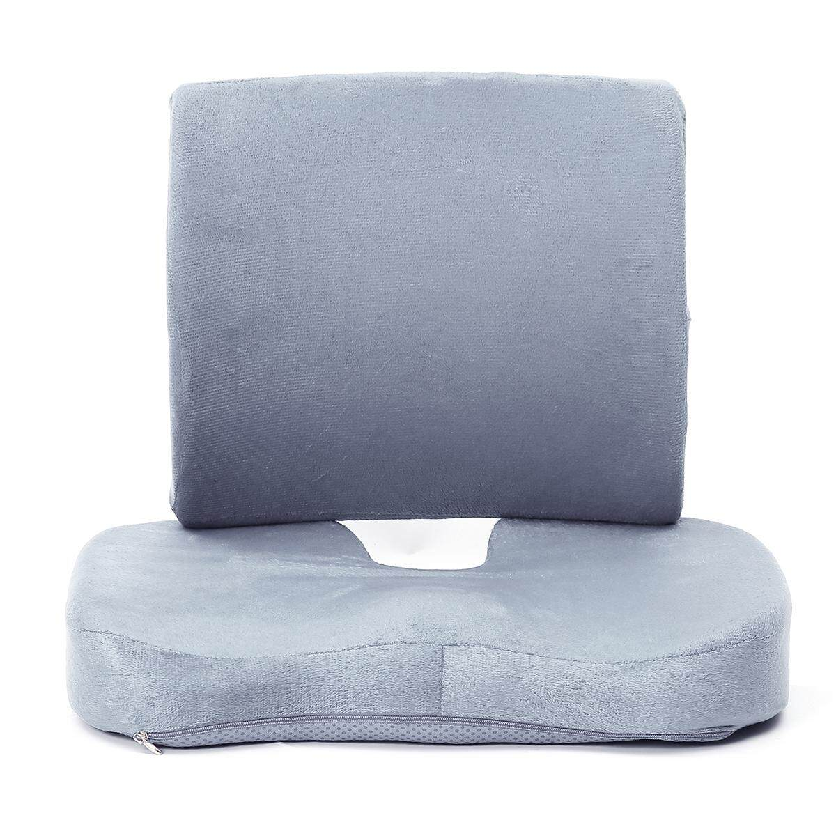 Memory Foam Seat Cushion Lumbar Back Support Orthoped Car Office Pain Relief - intl