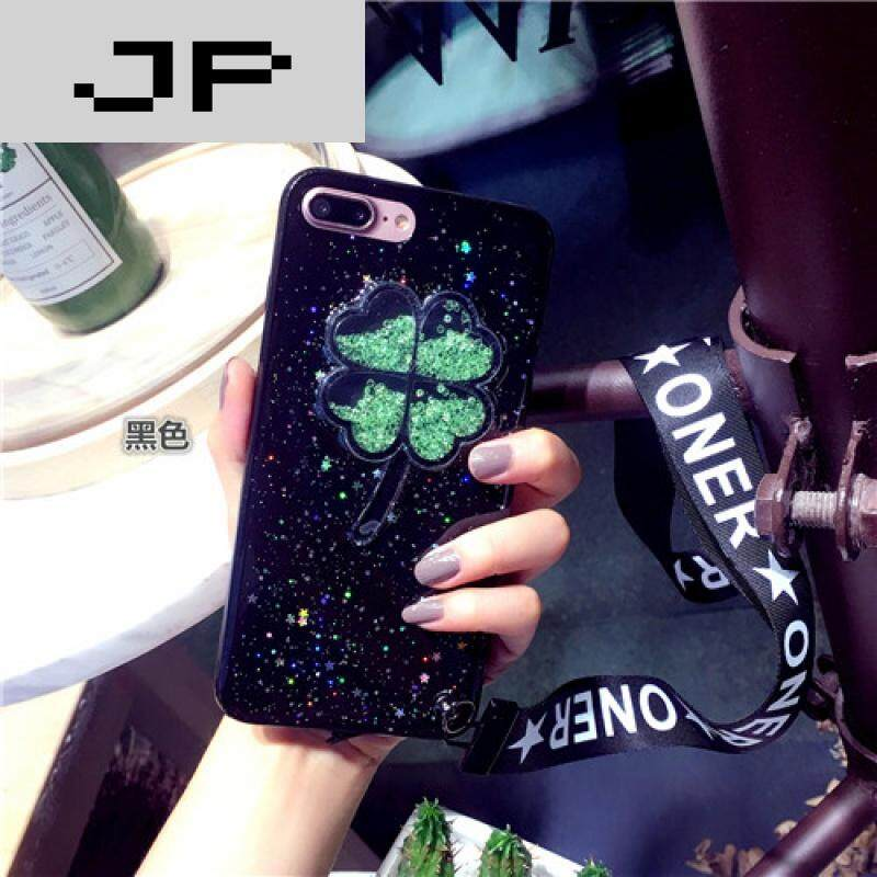 JP trend brand flash powder bead clover lanyard Apple 6 mobile case iPhone7/6s/plus silicon sleeve all-inclusive soft shell([not available for sale in this area] - 6/6S4.7 black)
