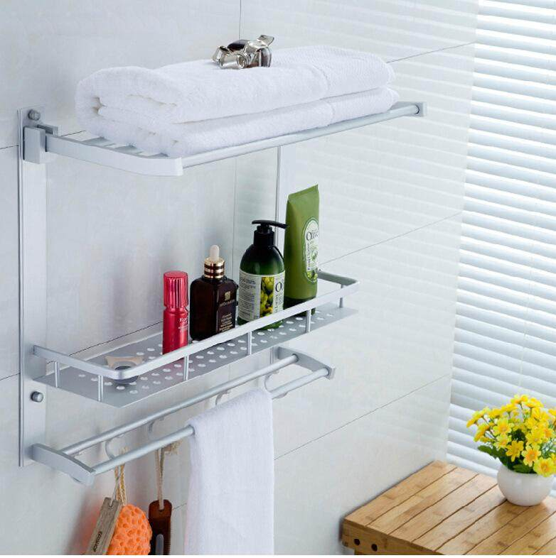 Multi-Function Aluminum Silver Bath Towel Shelf Washcloth Rack Holder With 5 Hooksthree Layers By Glimmer.