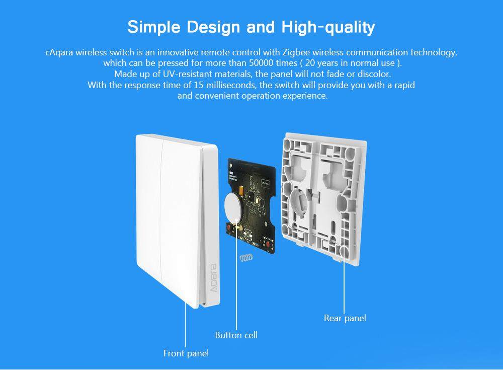 Xiaomi WXKG02LM Aqara Smart Light Switch Wireless Version Double Key