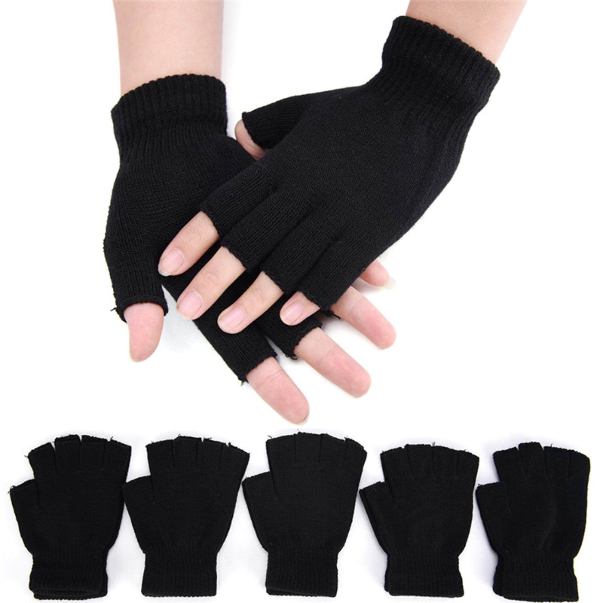 2019 Fashion Black Short Half Finger Fingerless Wool Knit Wrist Glove Winter Warm Gloves Workout For Women And Men To Have A Unique National Style Back To Search Resultsapparel Accessories