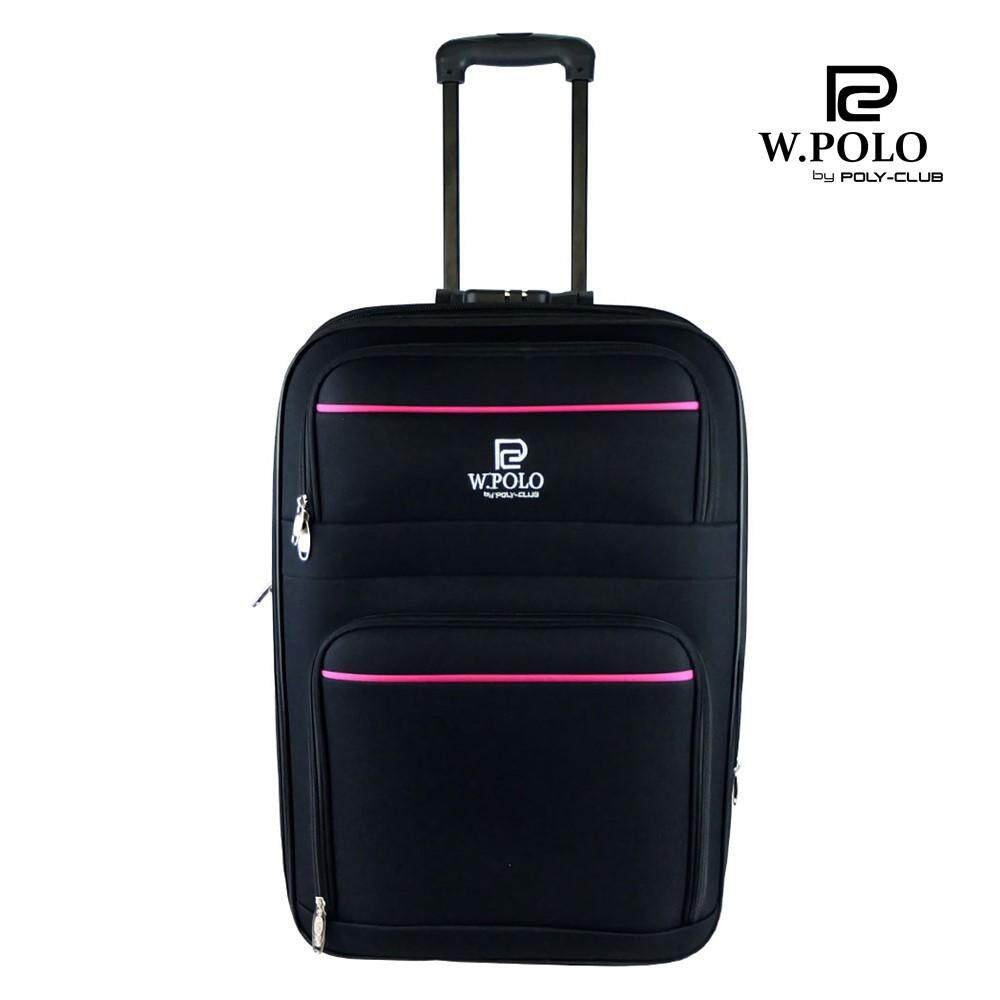 W.POLO WE9714 28 inch 2 Wheels Expendable EVA Trolley Case-Black/Pink