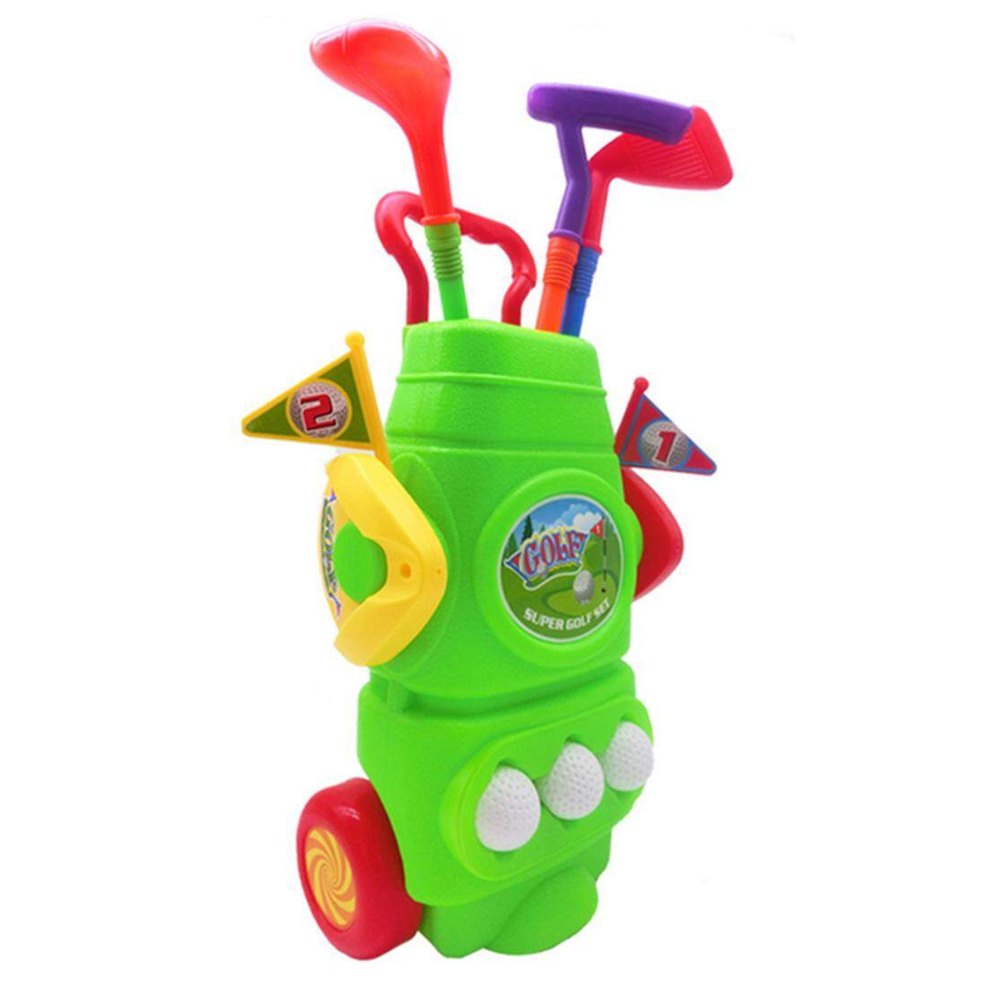 360wish 11pcs Gift Box Packed Children Plastic Golf Sports Toy Set Kids Golf Game Toy With 3 Clubs 2 Holes 3 Balls And 2 Flags - Green By Wish360.