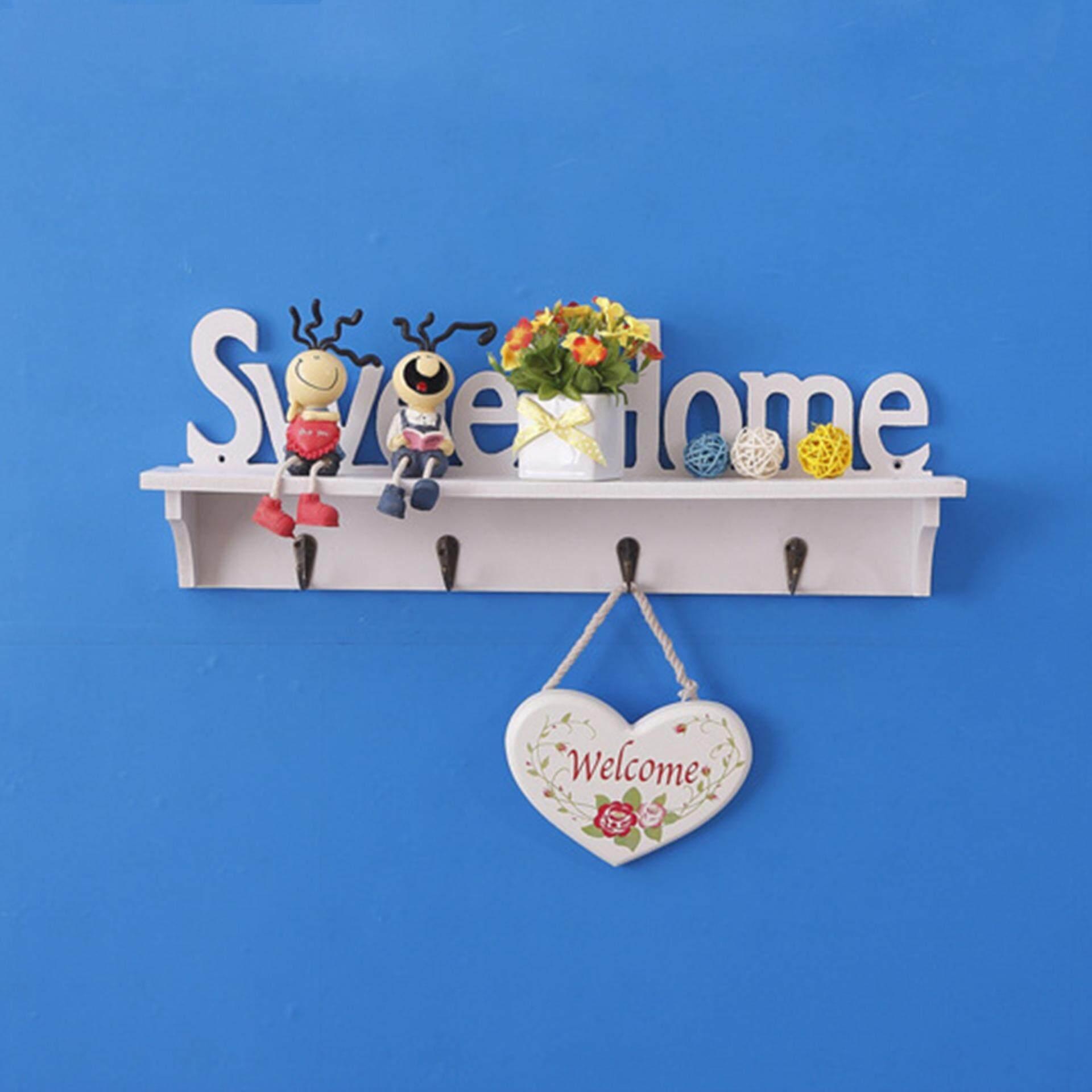 GETEK Sweet Home Wall Decorative Clothes Hook Rack Wall Mounted Carved Shelves Key Storage Hanging Holders