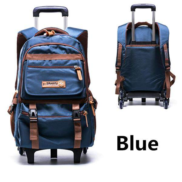 Six Wheels Teenagers Student Handbag School Bag Trolley Backpack Removable #6 wheel
