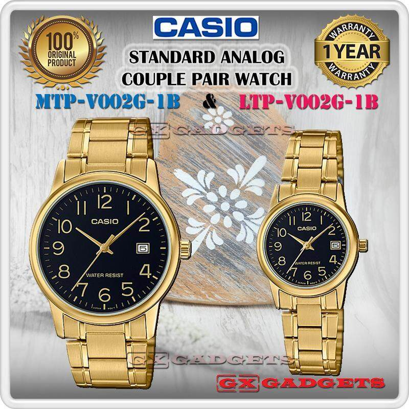 CASIO MTP-V002G-1B + LTP-V002G-1B STANDARD Analog Couple Pair Watch Date Gold Case Stainless Steel Band Water Resistant MTP-V002 LTP-V002 V002 Series Malaysia