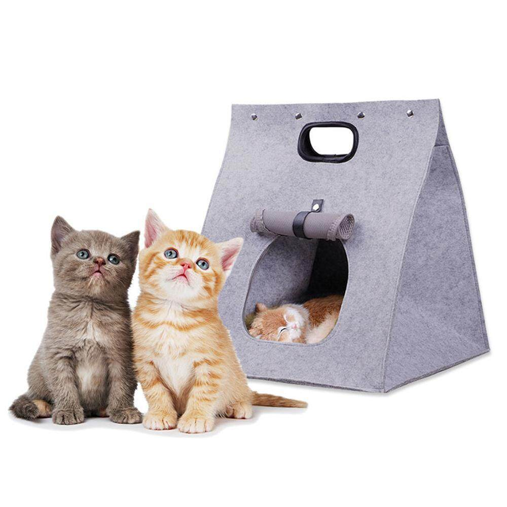 Pet Nest 3 In 1 Multifunctional Cat Dog Felt Pet Bed Washable Portable Folding Incorporate Pet Bag By Easy Hibiscus.