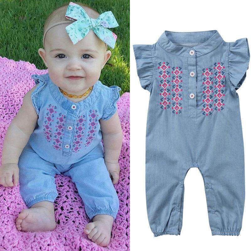 b8a445efe New Infant Baby Girls Newborn Embroidered Rompers Playsuit Bodysuit Bodysuit