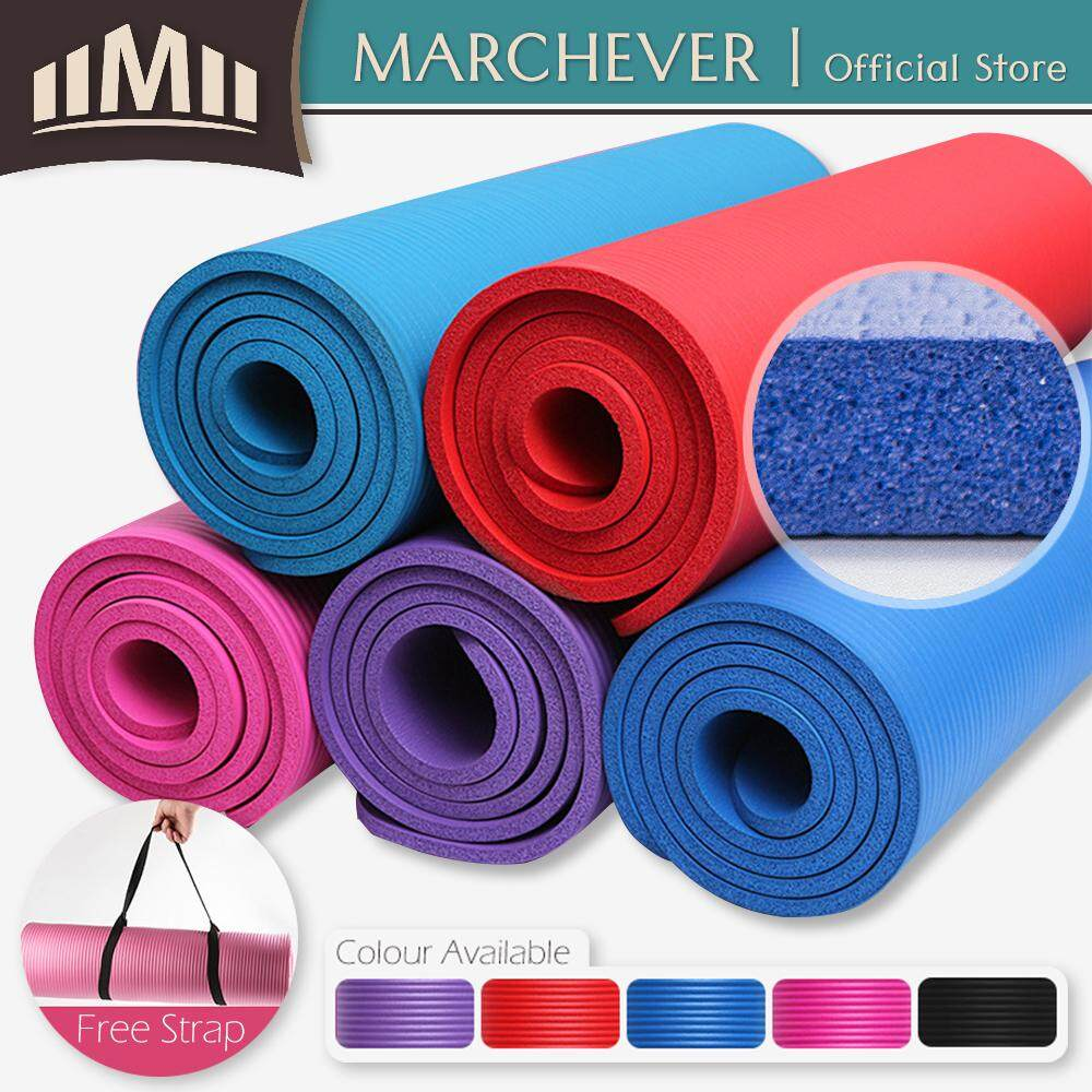 NBR Yoga Mat 10mm Gym Exercise Mat Extra Thick Non-Slip Yoga Mat + Carry Strap Purple