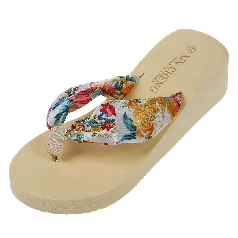 657e9116dd10 Beige Women Bohemia Floral Beach Sandal Wedge Platform Thongs Slippers Lady  Flip Flops 37 - intl