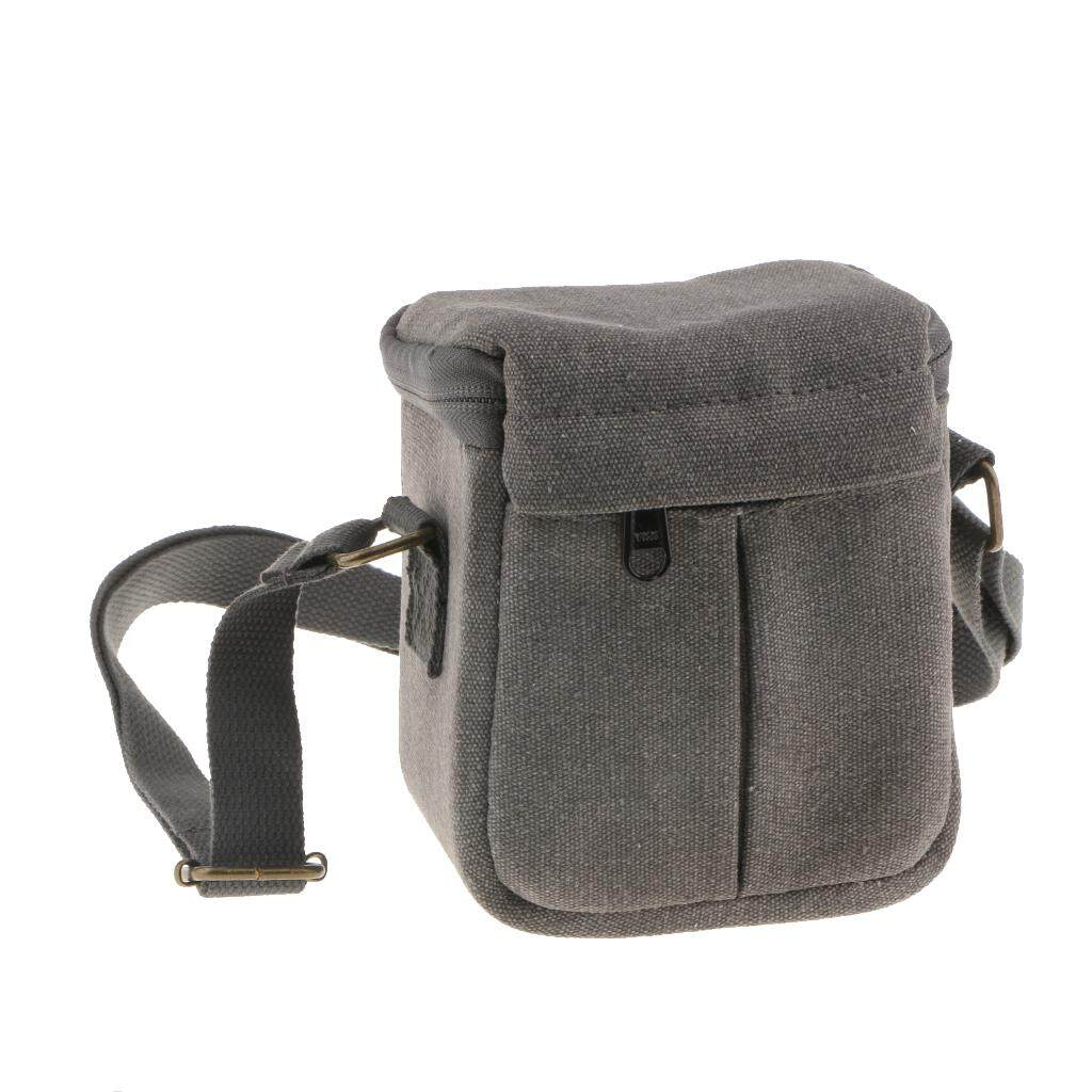 Miracle Shining Compact Canvas Case Shoulder Bag Storage Pouch for Mirrorless Camera Grey