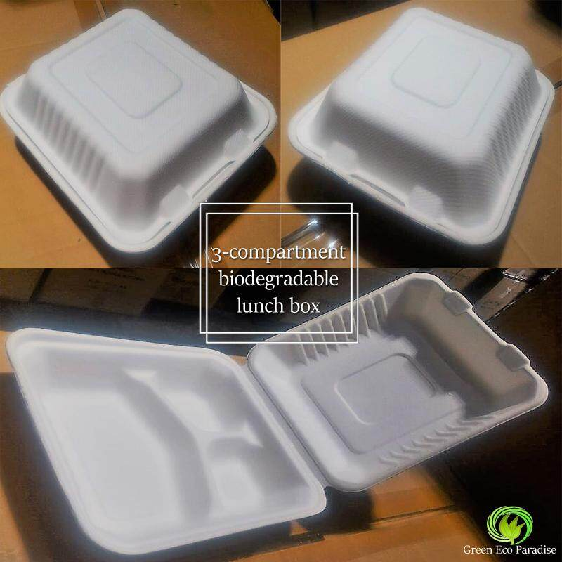 Biodegradable 3-Compartment Lunch Box [White] 400 pieces/carton