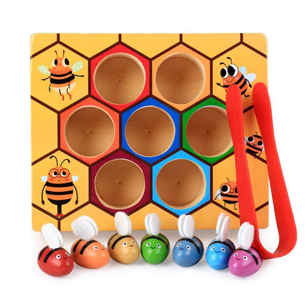 Toddler Bee Picking Toy,wooden Fun Catching Practices Beehive Box For Baby Early Educational Montessori Game By Aolvo.