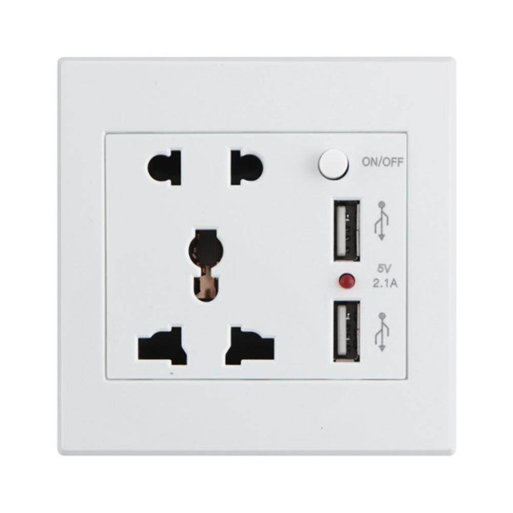 Dual USB Port Electric Wall Charger Station Socket Adapter Power Switch KDE-C10