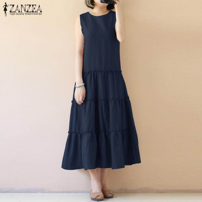 09d9bc35c9 ZANZEA Women Sleeveless Long Maxi Sundress Kaftan Flare A-Line Tiered Dress