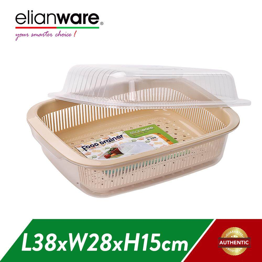 Elianware (38cm) Dust Free Home Kitchen Rack Storage with Cover Drying Rack Dish Drainer Rak Pinggan