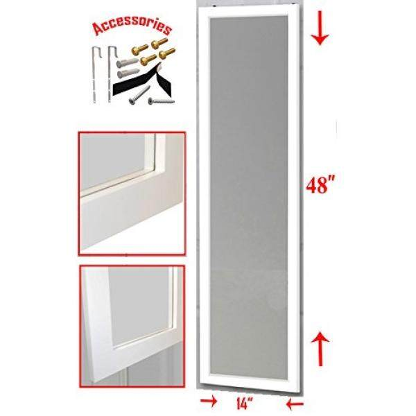 """Over the Door Mirror / Wall Mirror (14"""" x 48"""") – Full Length, White Wooden Furniture Frame (Hardware and Instructions Included) - intl"""