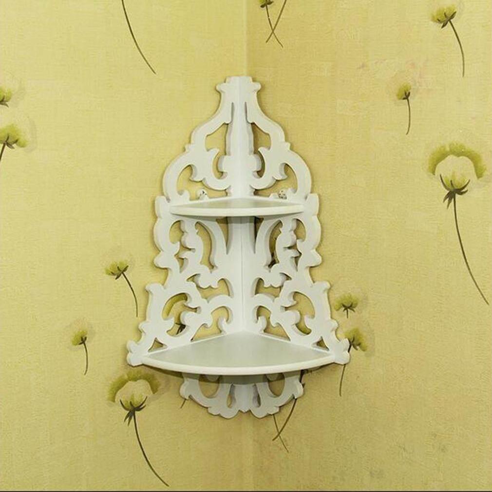 ELEC Vintage Decor Floral White Wood Wall Corner Rack Storage Shelf Corner Rack - intl