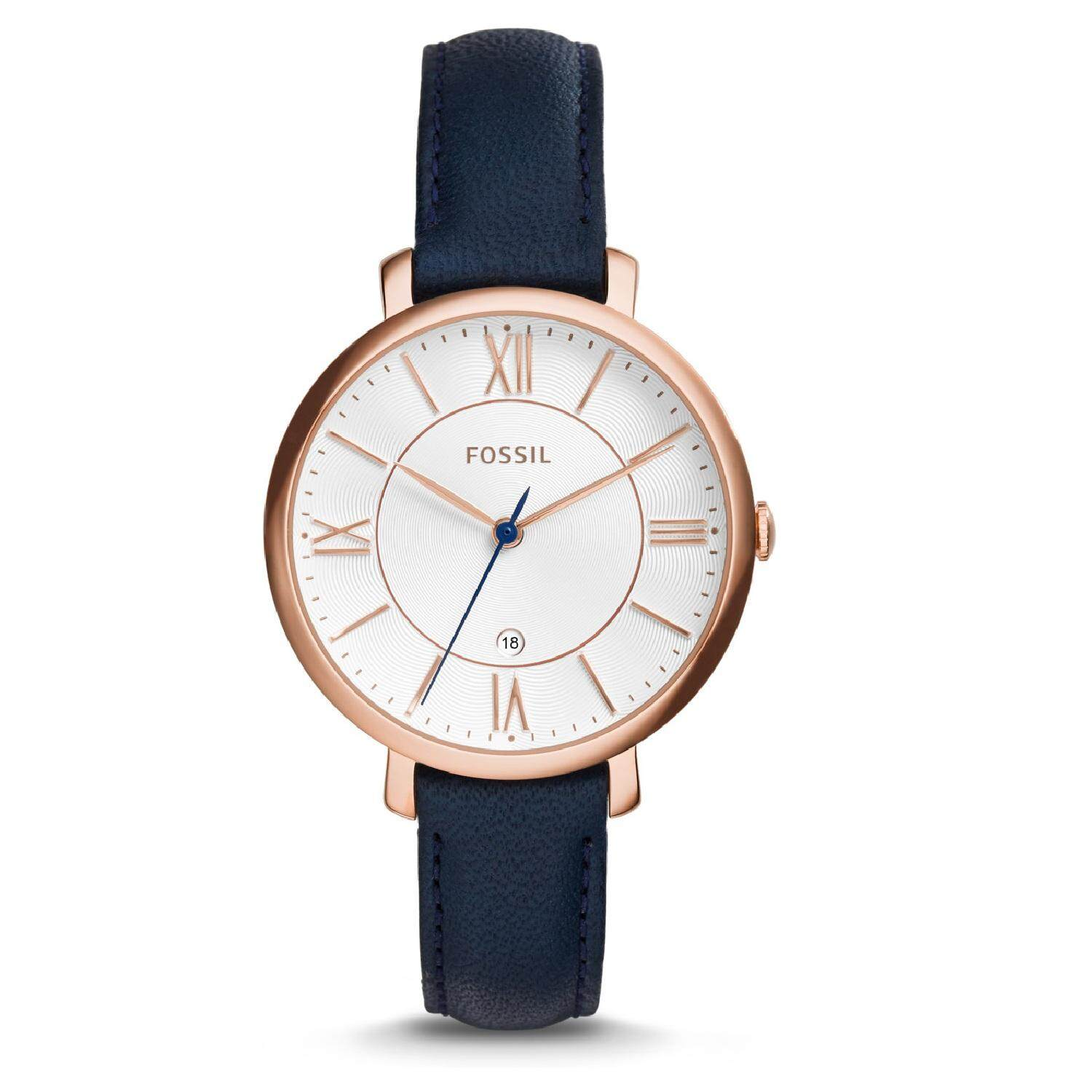 Fossil Womens ES3843 Jacqueline Rose Gold Case Navy Blue Leather Watch 100 Original