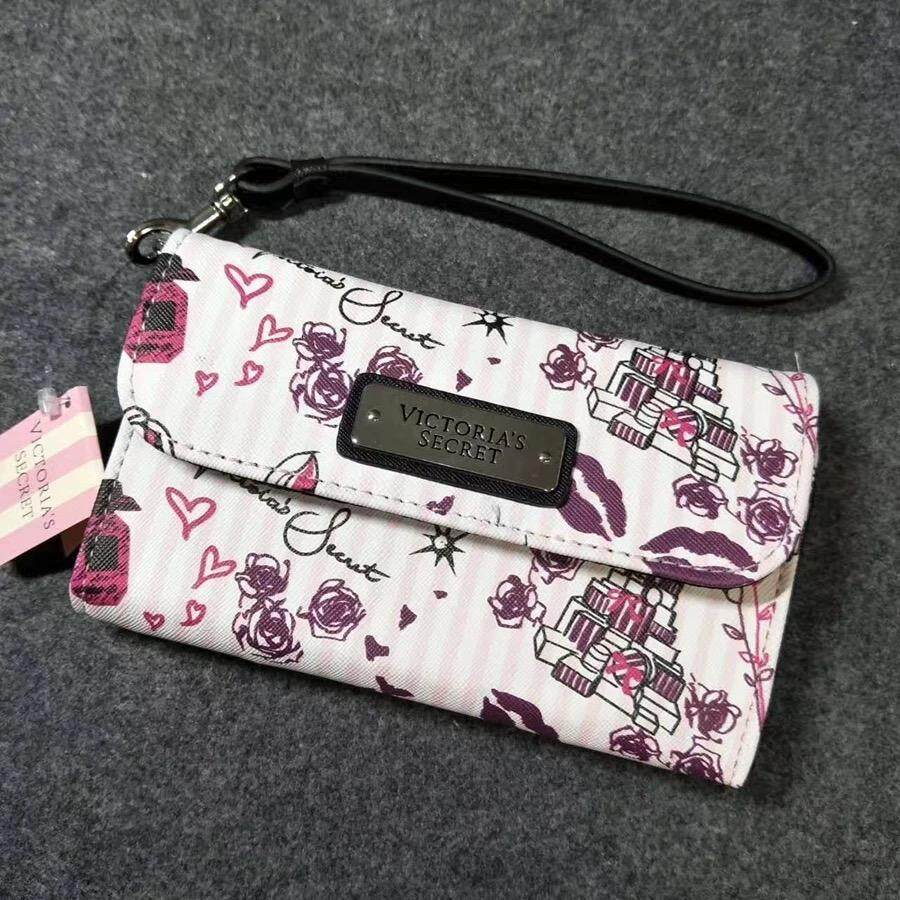 Premium Quality VS Victorias Secret Long Women 3 layers Purse With Small Mirror