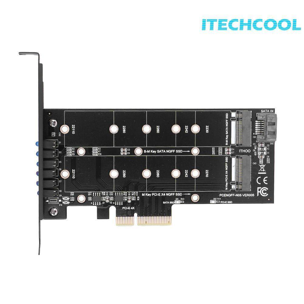 PCI- E 4X to NGFF SSD Adapter Card B- key+M- key M.2 NGFF+NVME Dual Interface PCIE Adapter Card